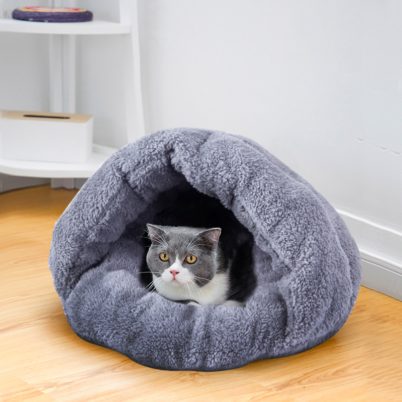 Cat Bed Cats Pad Pet nest Dog beds Dogs pads Pet mats Puppy House Semi Closed PetS Nest Soft Coral Velvet Good Quality Warmth in Cat Beds Mats from Home Garden
