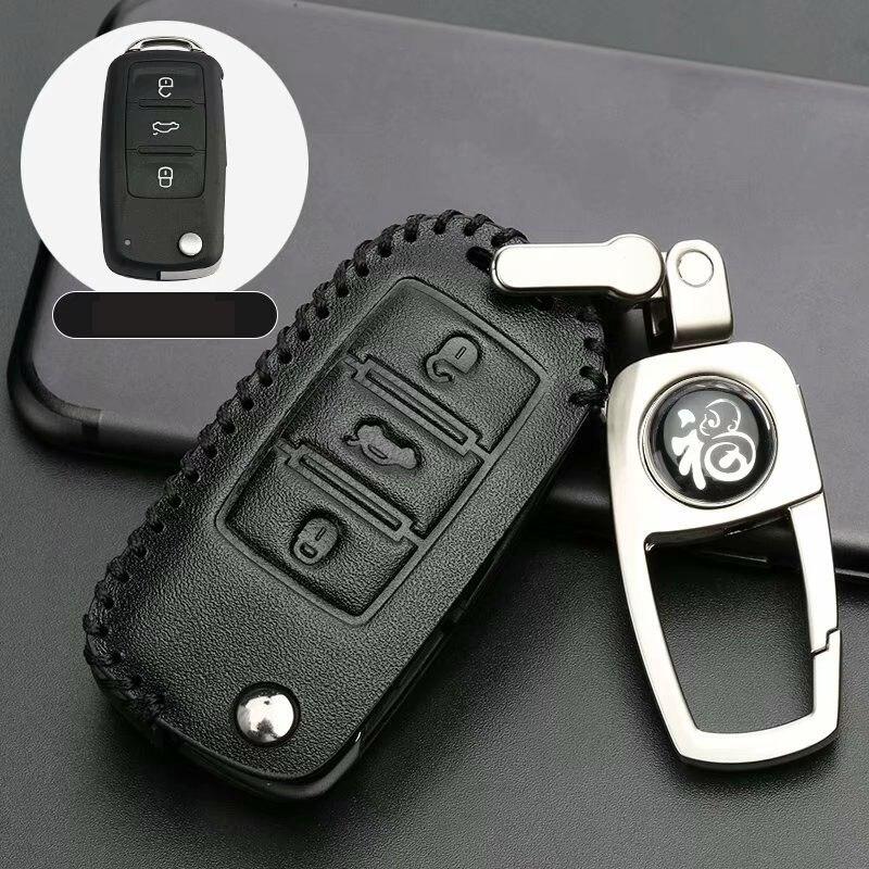 Leather Remote Key Case For SKODA Fabia Octavia Superb For Seat Leon Toledo Altea Ibiza Fob Shell Cover Skin 3 Button Remote