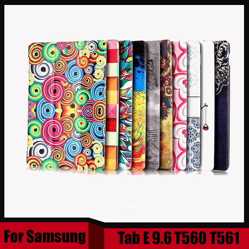 Printing Pu leather case cover for Samsung 9.6 Tablet case cover for Samsung Galaxy Tab E T560 T561+ Screen film as gift pu leather case cover for samsung galaxy tab 3 10 1 p5200 p5210 p5220 tablet