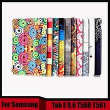 """Impresión de cuero de La Pu caso de la cubierta para Samsung 9.6 """"tablet case para samsung galaxy tab e t560 t561 + película de la pantalla como regalo"""