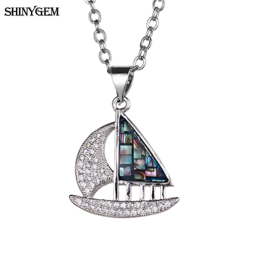 Shinygem Sailing Boat Pendant Necklaces Rainbow Thin Slice