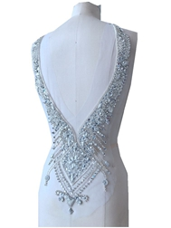hand made silver sew on Rhinestones applique on mesh crystal patches trim 59*30cm for dress accessory