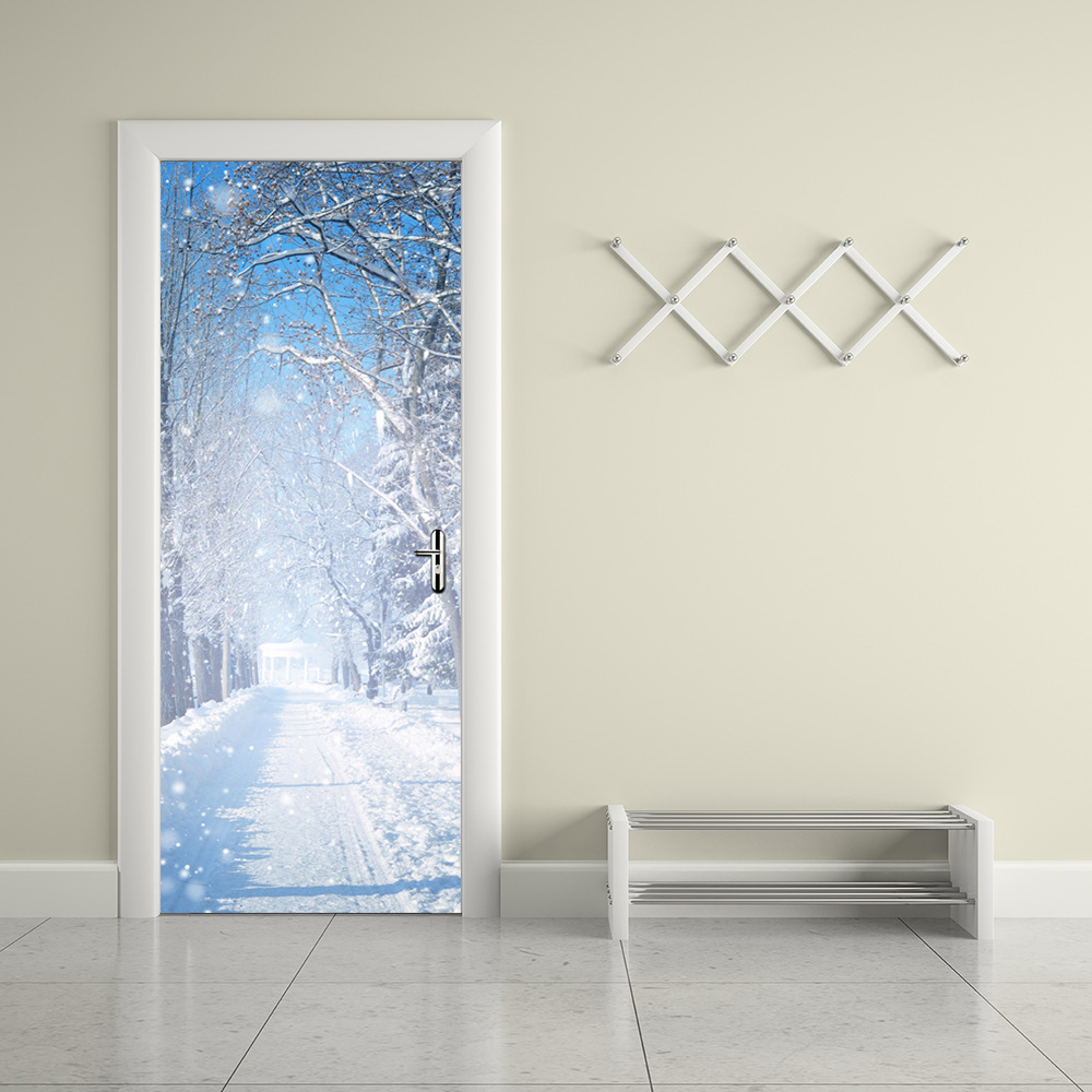 Posters for bedroom doors - Winter Snow Wall Stickers Diy Mural Bedroom Home Decoration 3d Wall Stickers Poster Door Stickers Wallpaper