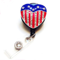 Bling Rhinestone Retractable Badge Reel/ ID Badge Holder / Brooch / Pendant / Reels (American Heart flag Black)