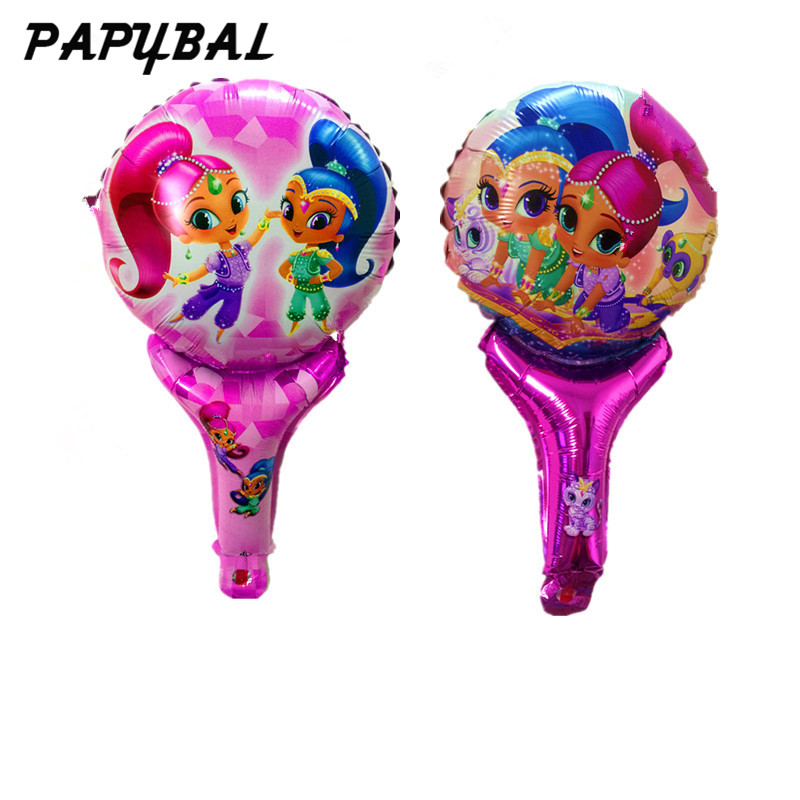 20pcs Shimmer shine Balloon party supplies lovely girl princess birthday Party foil balloons hand hold stick inflatable toy gift