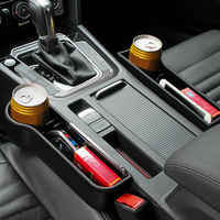 Organizador de bolsillo con abertura para asiento de coche, caja de almacenamiento de cuero de PU, soporte para botellas de teléfono, accesorios para coche, interior