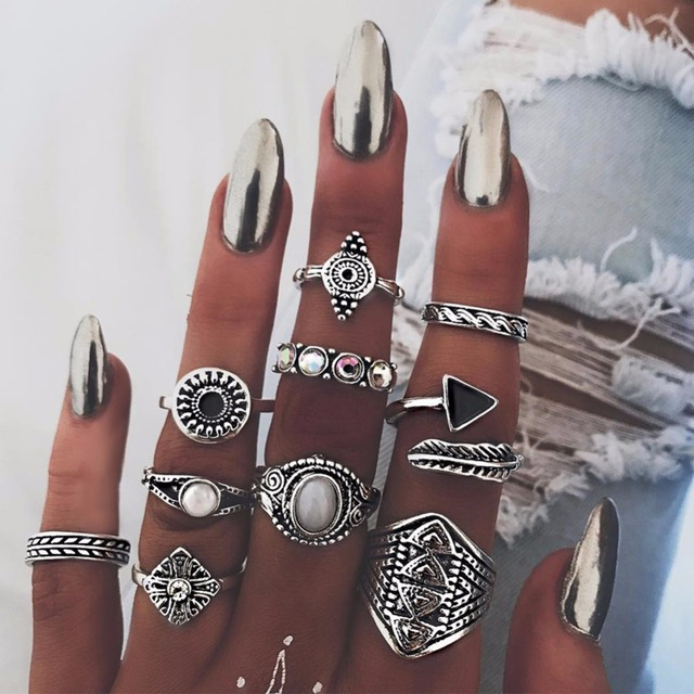 10 Pcs/Set Women Bohemian Arrow Leaves Carved Geometric Crystal Joint Knuckle Ri