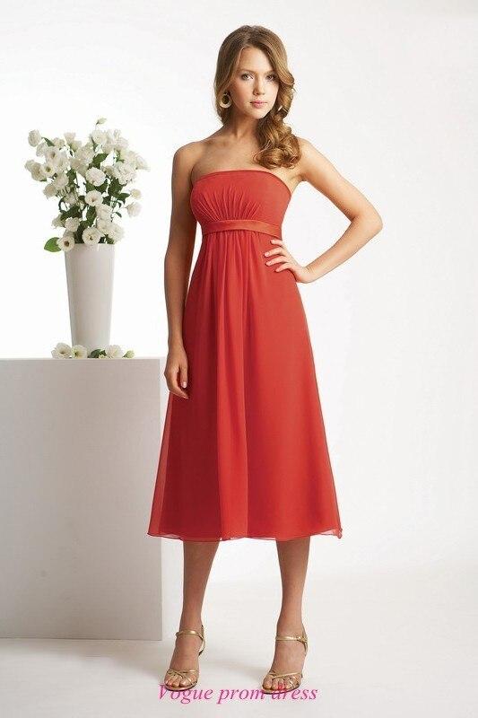 Red chiffon tea length dress