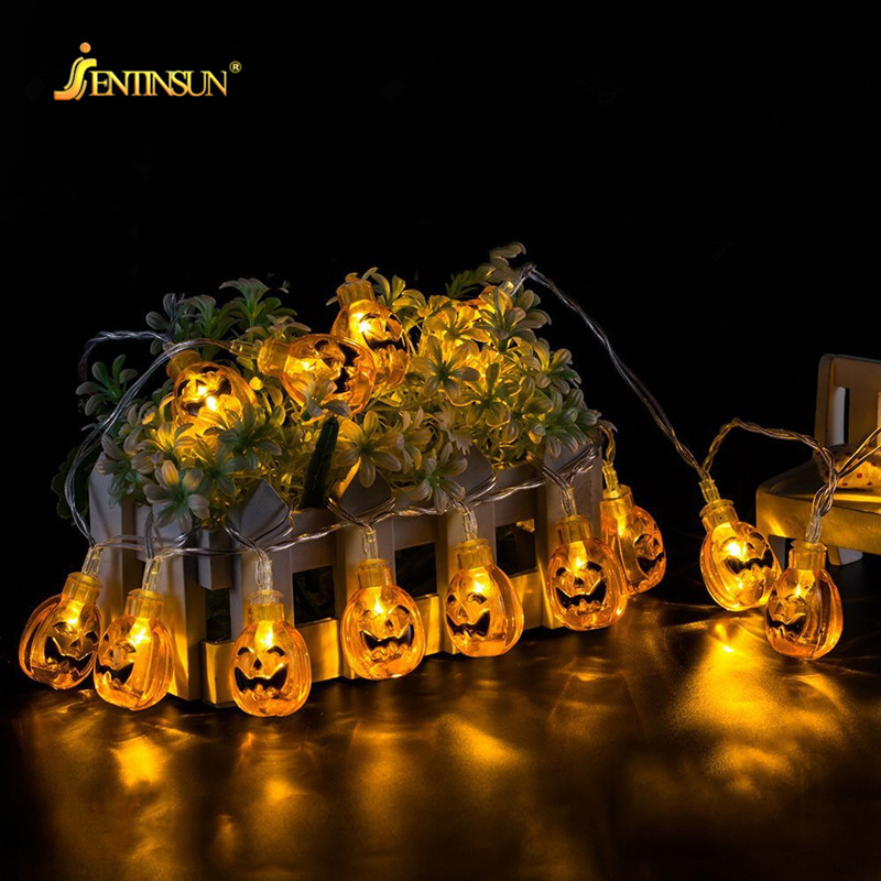 2M Halloween Decoration Pumpkin LED Light String Colorful Ghost Skull Bat Battery LED Light String Fairy Lights luces de navidad