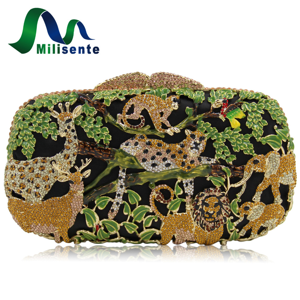 Milisente Women Luxury Crystal Clutch Evening Bags Animal Zoo Cltuches Bag Hollow Out Party Wholesale Green Purse s luxury crystal clutch handbag women evening bag wedding party purses banquet