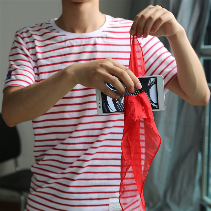 1 Pcs Scarf / Silk Through Phone Close Up Magic Tricks Easy To Do For Professional Gimmick Magicians Gag Toys Party Prop Tools