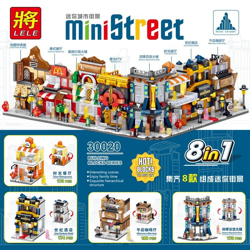 Mini Street 6+ Ages Childrens Enlightenment Toys Full Set Building Blocks For Boys Girls 4 in 1 Christmas Gift Free Shipping
