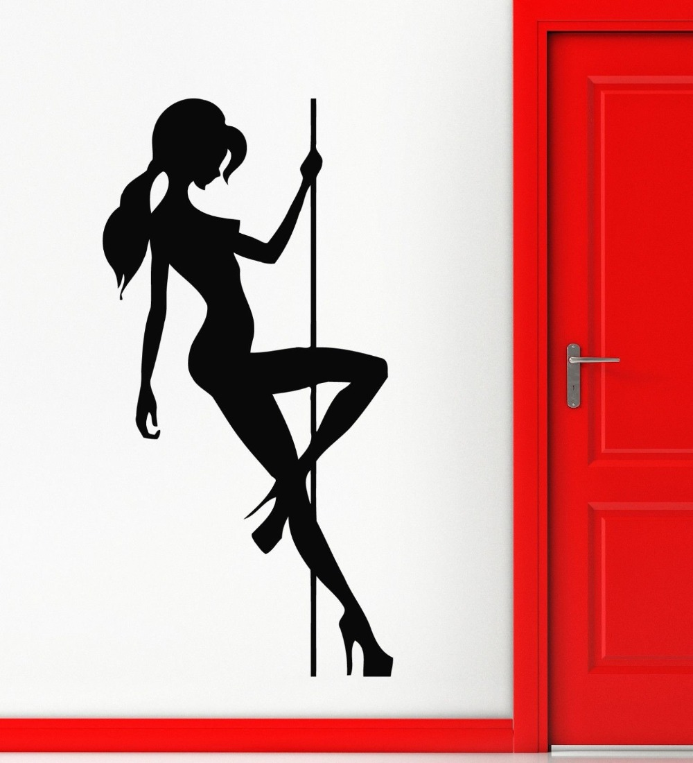 Wall Stickers Vinyl Decal Sexy Naked Girl Pole Dance Striptease-In Wall Stickers From -5738