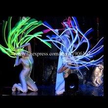 Прохладный светодио дный светодиодный свет светящийся мигающий растущий Рождественский волос вечерние вечеринка Хэллоуин парики танцевальный костюм головные уборы вечерние для вечеринки DJ клуб Маскарад