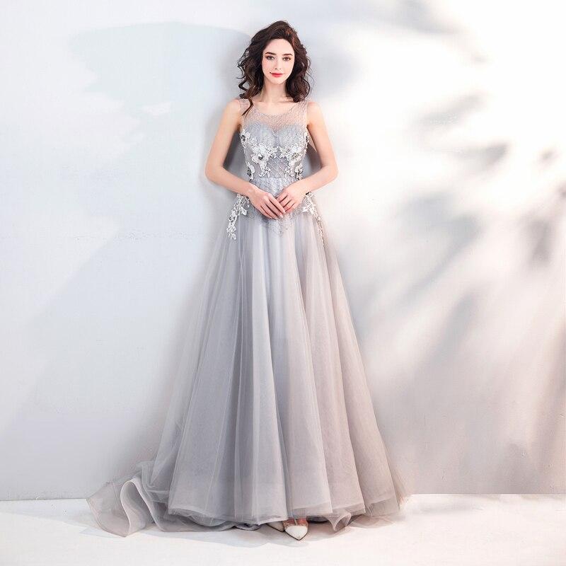 ead318941 AXJFU princesa gris vestido de noche de encaje flor gris o cuello de  cuentas de cristal de lujo de playa vestido de noche 3166 en Vestidos de  noche de Bodas ...