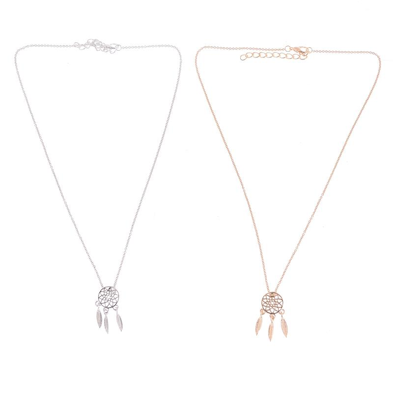 1pc Dreamcatcher Necklaces for Women Gold Silver Color Alloy Dream Catcher Boho Feathers Leaf Tassel Statement Necklace Jewelry