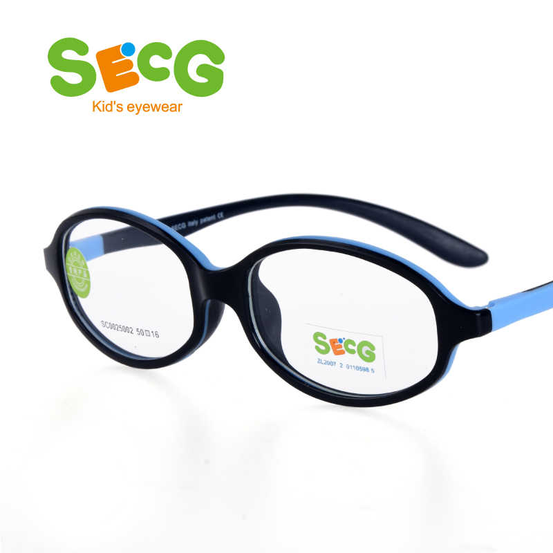 SECG Solid Tough Flexible Kids Glasses Frame Myopia Glasses for Sight Optical Round Silicone Children Frame Spectacles Gafas