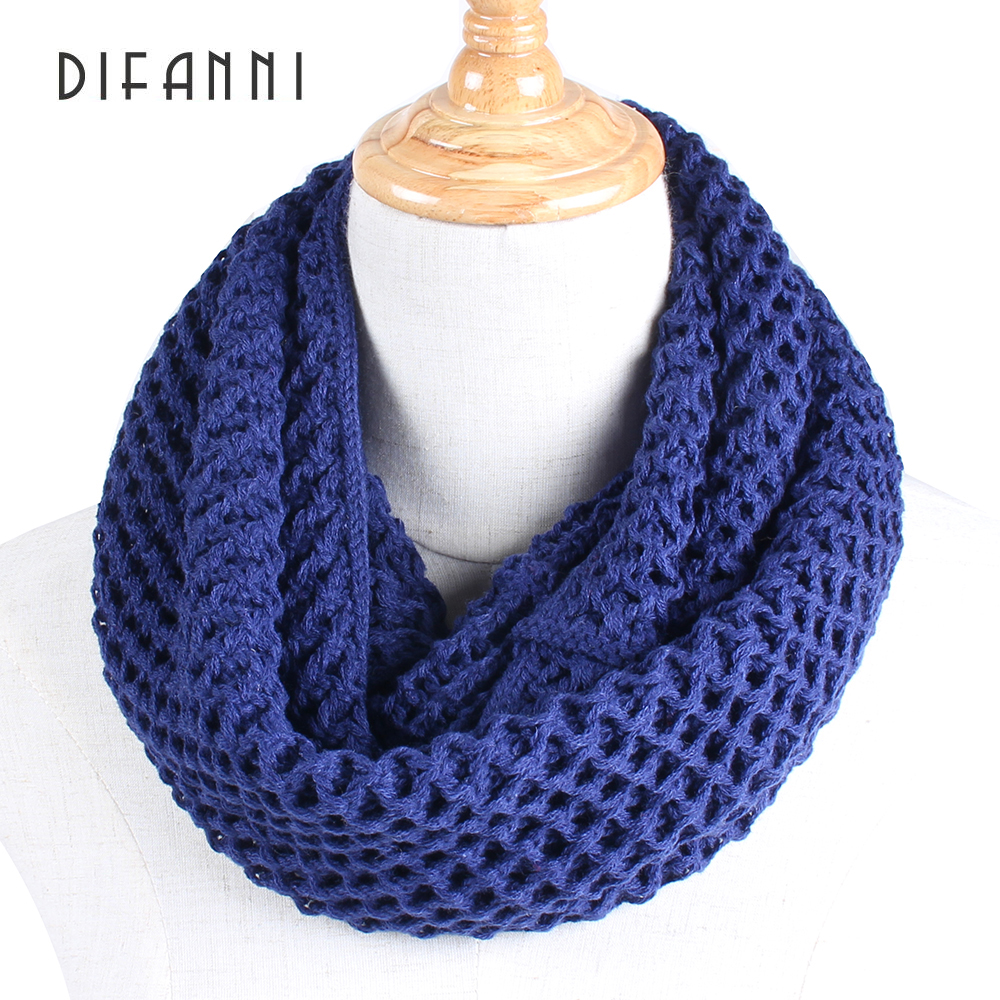 warm Infinity Two Circle Cable Knit Cowl Neck Loop Women Unisex Winter Knitting Neck Warmer Scarf Baby Scarves Wrap Bright In Colour 2019 Latest Design difanni