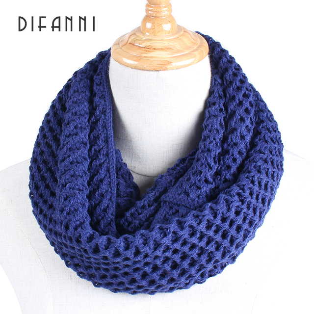 Difanni Warm Infinity Two Circle Cable Knit Cowl Neck Loop Women