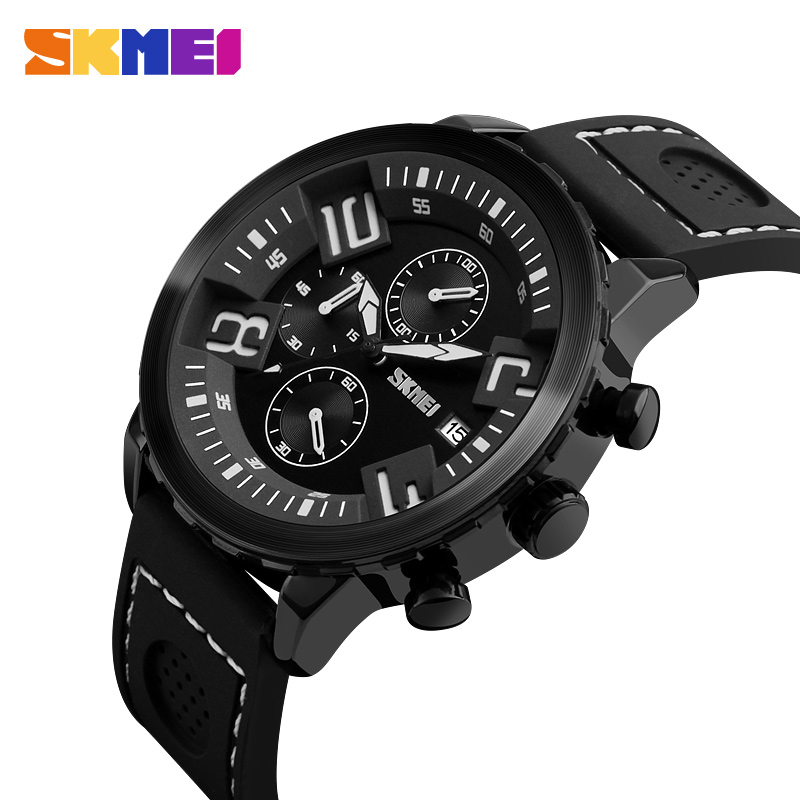 SKMEI Men Quartz Watch Multi-dial Waterproof Sports Watches Silicone Strap Calendar Luxury Wristwatches Relogio Masculino 9153