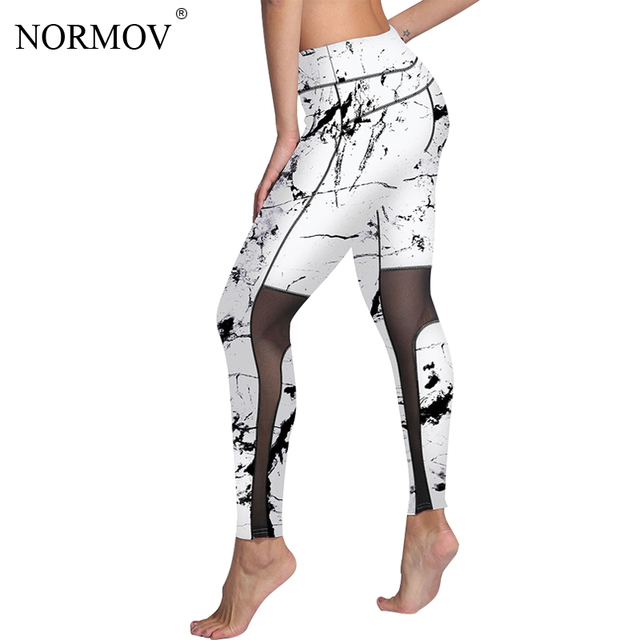 f8517fe4814 NORMOV Fashion Push Up Printed Mesh Leggings Women Plus Size Workout  Leggings Sexy Activewear Polyester Leggings S-3XL 4 Colors