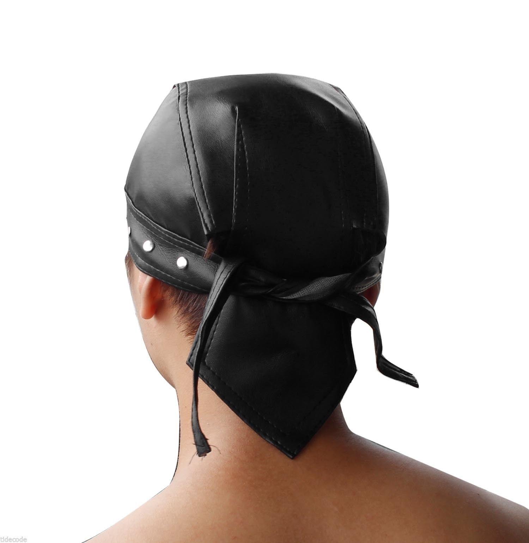 Skull Cap Head Wrap Du-Rag Leather Black for   Pair