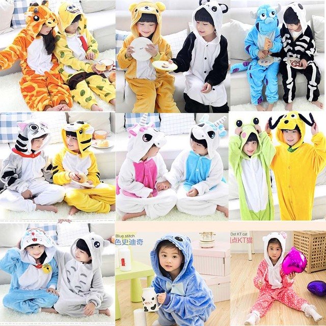 Unisex Kids Animal Pajamas Flannel Sleepwear Pyjama Boys Clothes Children Clothing Baby Onesies Cosplay Costumes Cartoon Robe