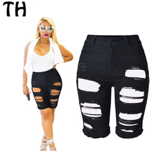 2016 Boyfriend Style High Waist Shorts Women Stretch Hole Ripped Summer Shorts Taille Haute Black Denim Shorts Femme #160737