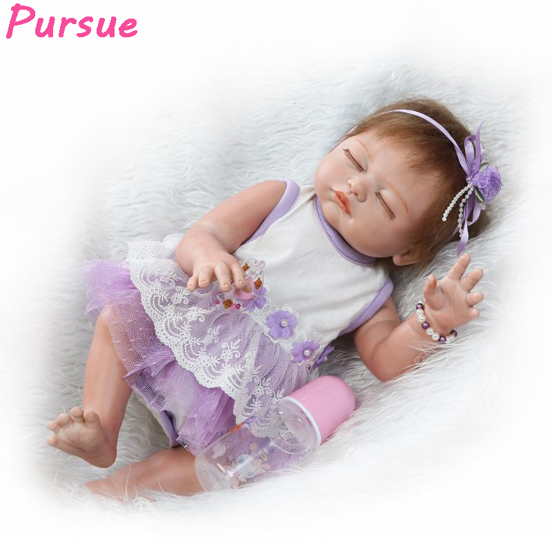 Pursue 20/50 cm Realistic Full Silicone Vinyl Reborn Babies Girl Body Doll Lifelike Bathe Play Dolls for Girl Sleeping Toy Gift pursue 22 57 cm bathe boy doll reborn full silicone vinyl body reborn babies dolls toys for children boy girl christmas gift