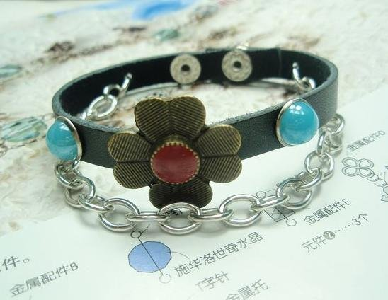 Punk genuine leather Small flower  leather bracelet Free shipping 12pcs/lot