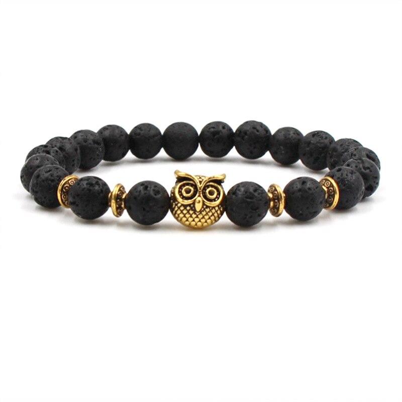 HOBBORN Trendy Natural Stone Men Bracelet Handmade Lava Chakra Fatima Owl Buddha Charm Women Bracelets Meditation Yoga Jewelry in Charm Bracelets from Jewelry Accessories