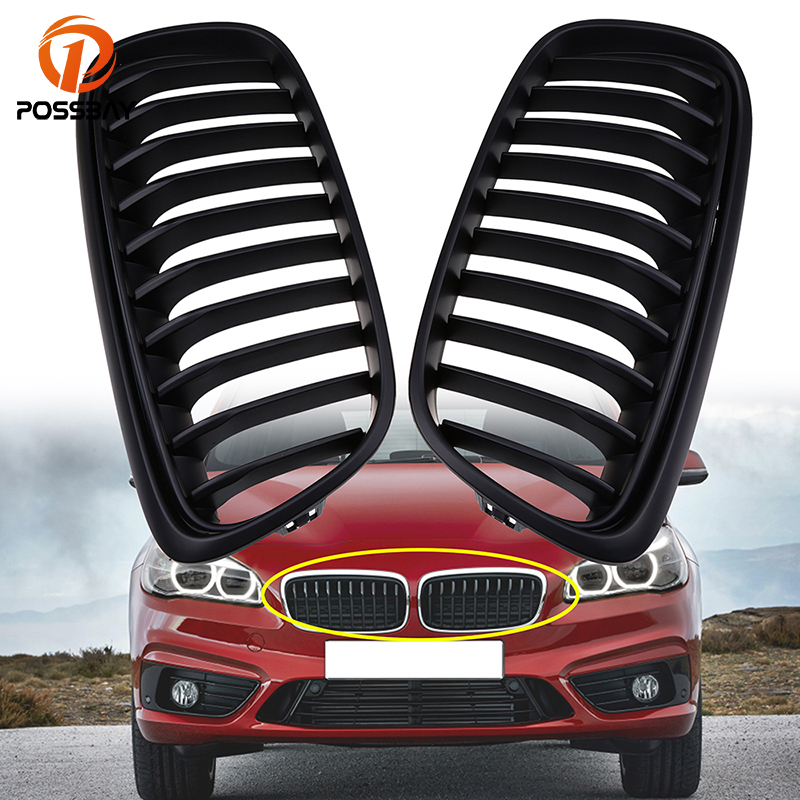 POSSBAY Matte Black Kidney Grilles for BMW 2-Series F45 Active Tourer 2014 2015 2016 2017 Pre-facelift Front Bumper Center GrillPOSSBAY Matte Black Kidney Grilles for BMW 2-Series F45 Active Tourer 2014 2015 2016 2017 Pre-facelift Front Bumper Center Grill