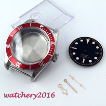 41mm Red Bezel Sapphire Cystal Watch Case Dial Hand fit fit 8205 2836 Movement цена и фото