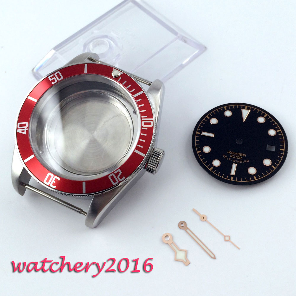 41mm 레드 베젤 사파이어 cystal 시계 케이스 다이얼 핸드 피팅 8205 2836 무브먼트-에서null부터 시계 의  그룹 1