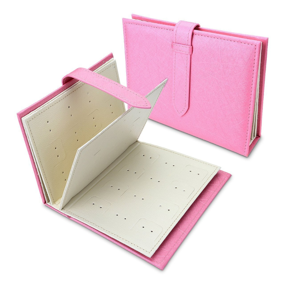 Jewelry Organizer, Portable Earring Holder Pu Leather Travel Jewelry Case With Foldable Book Design (Pink)