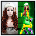 X man Rogue Anna Marie Cosplay Wigs Long Wavy Dark Brown Wigs With White Head Bangs Free Shipping