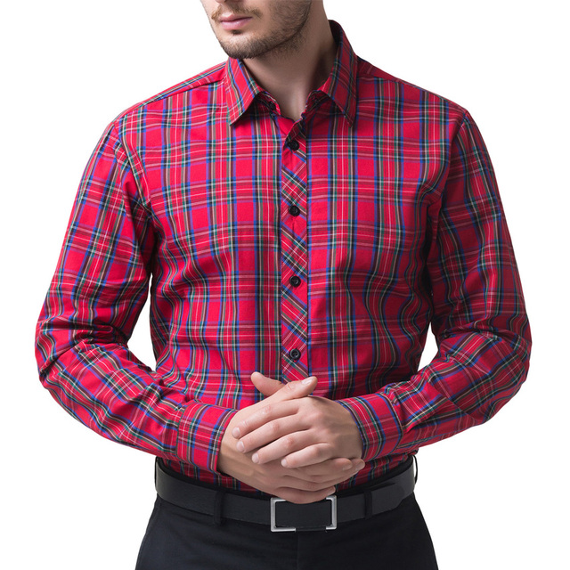 New 2016 100% cotton red Mens Dress Shirts Blue Shirt Men Causal Striped Shirt Men Camisa Social Masculina Chemise Homme cheap