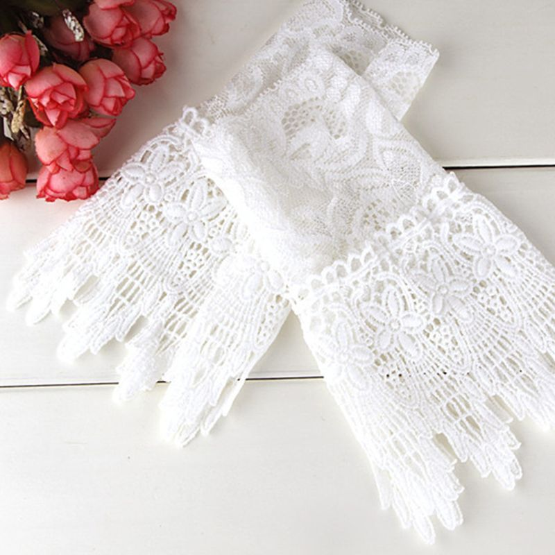 Women Girls Korean Style Fake Sleeves Cuffs Hollow Out Embroidered Crotchet Floral Lace Apparel Arm Warmers Wrist Decor