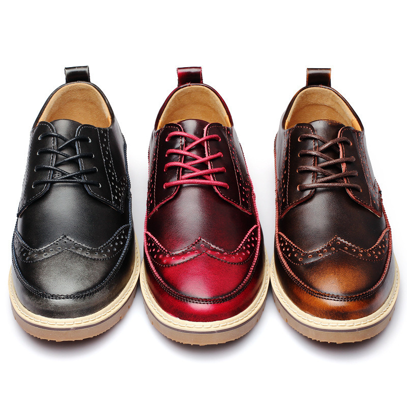 Men Causal Shoes For 2017 Autumn Fashion Genuine Cow Leather Lace Up Brogue Mens Business Work Casual Shoes Black Brown hot sale men s shoes casual shoes for men winter autumn low top patchwork canvas fashion lace up mens classic casual shoes