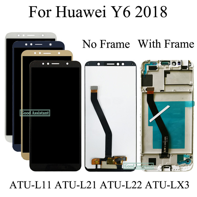 US $18 38 6% OFF NEW 5 7 inch For Huawei Y6 2018 ATU L11 ATU L21 ATU L22  ATU LX3 Full LCD DIsplay + Touch Screen Digitizer Assembly + Frame Cover-in