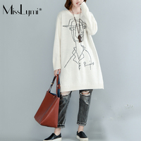 MissLymi Artı Boyutu Kadınlar Beyaz Örme Kazak Elbise 2017 Kış Kore Sıcak Karikatür Kız Desenli Uzun Kollu Kazak Elbiseler