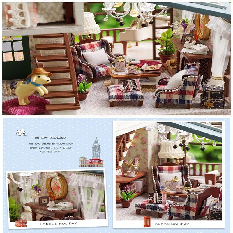 DIY Bebek Evi Ahşap Bebek Evleri Minyatür dollhouse Mobilya Kiti - Bebekler ve Aksesuarlar - Fotoğraf 3