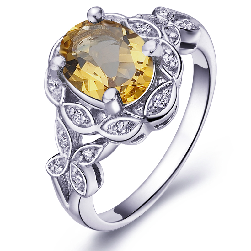 Natural 1.5 Carat Citrine Ring 925 Sterling Silver Yellow Crystal Woman Fashion Fine Elegant Jewelry Lux Birthstone Gift sr0189c все цены