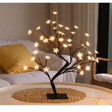 Mode LED Innen Beleuchtung Tisch Lampe Kirschblüte Baum Nacht Licht 24/48 Leds Warm Weiß Beleuchtung Home Party dekoration