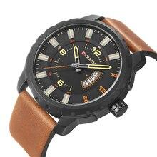 CURREN Military Design Black Quartz Watch Brown Leather Complete Calendar Display Mens Watches Relogio Masculino Clock Male