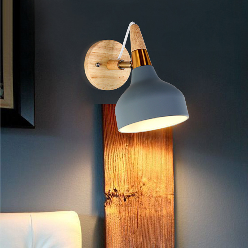 Macaron Nordic simple bar wrought iron solid wood LED wall lamp restaurant bedroom bedside modern art Danish wall light lightingMacaron Nordic simple bar wrought iron solid wood LED wall lamp restaurant bedroom bedside modern art Danish wall light lighting