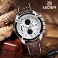 MEGIR Топ люксовый бренд хронограф модные спортивные часы кварцевые часы мужские часы кожаные военные наручные часы Relogio masculino
