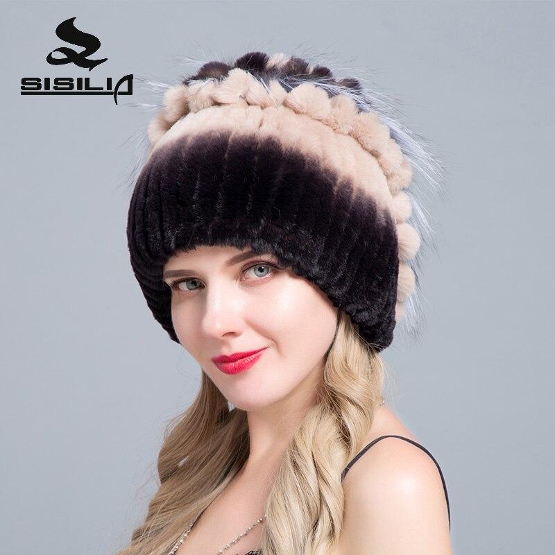 SISILIA 2018 Femmes Rex Lapin Chapeau De Fourrure de Haute Qualité Chaud Lapin de Peau de Peau De Renard Chapeau Femme Vraie Fourrure chapeau