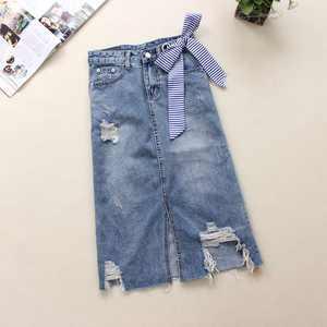 Jeans Skirts Blue High-Waist Womens Summer Bow Light Cotton Mid-Calf A-Link Bleached-Hole