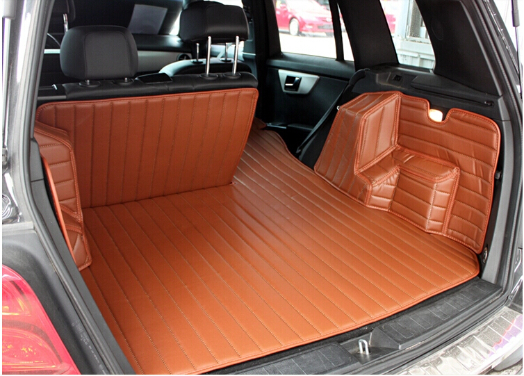 full surrounded no odor anti skip car trunk mats for Mercedes GLK 250 durable waterproof carpets